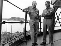 McCain's grandfather and father on board a U.S. ship in Tokyo Bay, circa end of World War II in 1945
