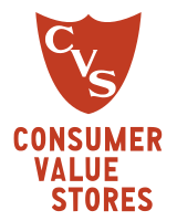 """A """"shield"""" logo typical of early Consumer Value Stores, c. 1965"""