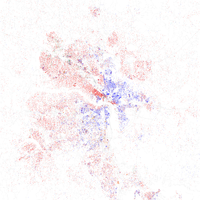 Map of racial distribution in Richmond, 2010 U.S. Census. Each dot is 25 people: White, Black, Asian , Hispanic or Other (yellow)
