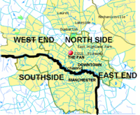 Richmond is often subdivided into the North Side, Southside, East End, and West End.