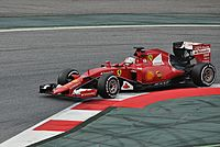 Vettel during pre-season testing in Catalunya debuting for Ferrari