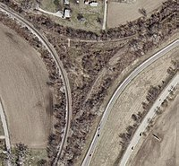 Aerial photograph of a now partially abandoned wye