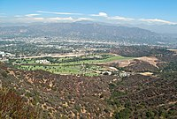 Forest Lawn Memorial Park and the Verdugo Mountains.