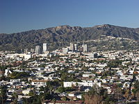 View of Glendale with the San Gabriel Mountains and the Verdugo Mountains in the background.