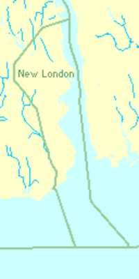 49% of New London's area is water.