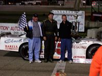 Bickle (center) after winning the final stock car races at Lake Geneva Raceway in 2006