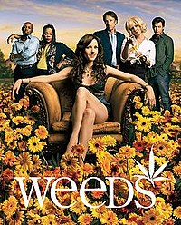 The cast of Weeds during Season 2, Left to Right: Romany Malco, Tonye Patano, Mary-Louise Parker, Kevin Nealon, Elizabeth Perkins, and Justin Kirk. This image was also used for the Season 2 DVD box set.
