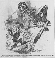 Bob Satterfield cartoon about constant revolutions in the Dominican Republic