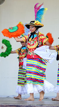 Nicaraguan women wearing the Mestizaje costume, which is a traditional costume worn to dance the Mestizaje dance. The costume demonstrates the Spanish influence upon Nicaraguan clothing.