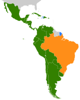 Linguistic map of Latin America. Spanish in green, Portuguese in orange, and French in blue.