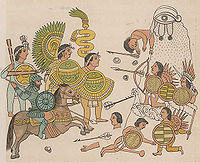 Cristóbal de Olid leads Spanish soldiers with Tlaxcalan allies against indigenous warriors during the European colonization of the Americas.