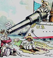 Political cartoon depicting Theodore Roosevelt using the Monroe Doctrine to keep European powers out of the Dominican Republic