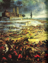 Painting depicting the Battle of Puebla in 1862