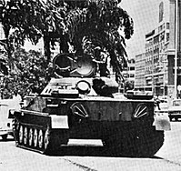 A Cuban PT-76 performing routine security duties in Angola during the Cuban intervention into the country