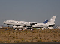 Omega Air's 707-330C testbed for the 707RE program takes off from the Mojave Airport, 2007.