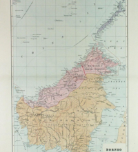 Map of the island divided between the British and the Dutch, 1898. The present boundaries of Malaysia, Indonesia and Brunei are largely inherited from the British and Dutch colonial rules.