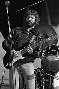 """Clapton with """"Blackie"""" while on tour in the Netherlands, 1978. Clapton recorded hits such as """"Cocaine"""", """"I Shot the Sheriff"""", """"Wonderful Tonight"""", """"Further On Up the Road"""" and """"Lay Down Sally"""" on Blackie"""
