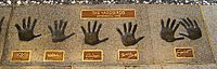 Clapton's handprints (far right) with other members of the Yardbirds at the Rock and Roll Hall of Fame