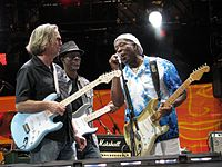 Clapton, Keb' Mo' and Buddy Guy at the Crossroads Guitar Festival on 26 June 2010