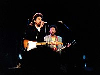 George Harrison and Clapton at the Prince's Trust Concert, Wembley Arena, London, 1987
