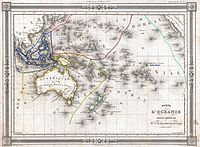 1852 map of Oceania by J.G. Barbie du Bocage. Includes regions of Polynesia, Micronesia, Melanesia and Malaysia.