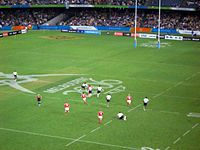Fiji playing Wales at seven-a-side rugby