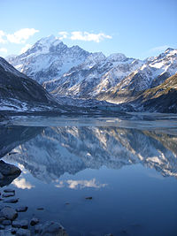 Aoraki / Mount Cook, located on the South Island of New Zealand