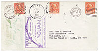 Cover carried both directions on the first commercial flights between Guam and the United States, October 5–24, 1935