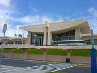 Terminal at Antonio B. Won Pat International Airport. The airport hosts a hub of United Airlines, Guam's largest private-sector employer.