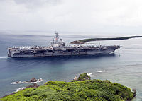 The aircraft carrier USS Ronald Reagan (CVN 76) enters Apra Harbor for a scheduled port visit