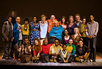 Kingsley (back row, third from left) and the cast of The Children's Monologues, at the Old Vic Theatre in London on 14 November 2010