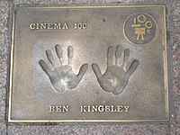 Kingsley's handprints at Leicester Square, London