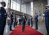 Mayorkas arrives at DHS headquarters following his swearing-in as Secretary of Homeland Security