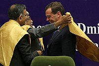 37th Prime Minister of Russia Dmitry Medvedev being awarded honorary doctorate degree by JNU.