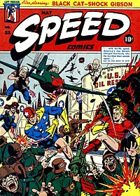 Comic book crossovers may be traced back to the Golden Age, where characters frequently teamed up on the cover (though far more rarely on the inside). Speed Comics number 32, Artwork by Alex Schomburg.