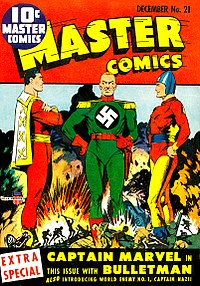 An early example of the comics crossover: Captain Marvel and Bulletman join forces to battle Captain Nazi. Master Comics number 21, Artwork by Mac Rayboy.