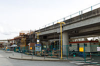 Construction at Lougheed Town Centre station in March 2014