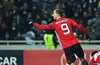 Ibrahimović celebrates after scoring for Manchester United against Zorya Luhansk in a UEFA Europa League group stage match in December 2016