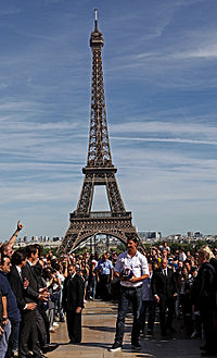 Ibrahimović greets PSG fans on the day he signed for the club in July 2012