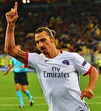 Ibrahimović playing against Shakhtar Donetsk in the group stage of the UEFA Champions League in September 2015