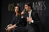 """An ambassador for the United Nations World Food Programme, Zlatan appears at the global awareness campaign """"805 million names"""" launch with its founder Marina Catena in 2015"""