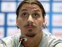 Ibrahimović at a press conference in Qatar in 2013