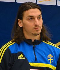 Ibrahimović (seen here in 2013) played for the Sweden national team from 2001 until 2016, and is currently Sweden's all-time leading goalscorer with 62 goals.