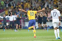 Ibrahimović celebrates after scoring with an acrobatic volley against France in June 2012. Like his idol Ronaldo, Zlatan often celebrates scoring a goal with both arms outstretched.
