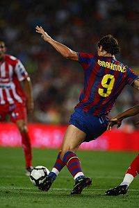Ibrahimović playing for Barcelona in a match against Sporting Gijón in 2009