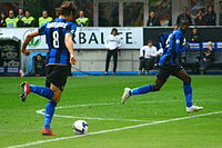 Ibrahimović and Mario Balotelli playing against Palermo in 2009