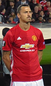 Ibrahimović prior to a Europa League game at Old Trafford in September 2016