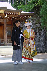 Couple married in a Shinto ceremony in Takayama, Gifu prefecture.