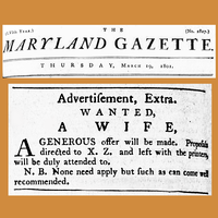 """A """"Wife Wanted"""" ad in an 1801 newspaper  """"N.B."""" means """"note well""""."""