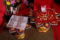 """Traditional, formal presentation of the bridewealth (also known as """"sin sot"""") at an engagement ceremony in Thailand"""